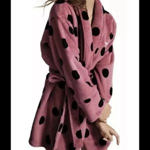 VICTORIA'S  SECRET PINK BEGONIA FLEECE   ROBE S/P